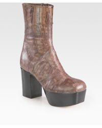 Miu Miu Stamped Snake Skin Leather Platform Ankle Boots - Lyst