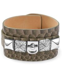 Juicy Couture Bwild Leather Cuff Bracelet - Lyst