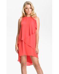 BCBGMAXAZRIA Ruffle Chiffon Dress - Lyst