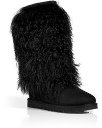 Ugg Black Classic Tall Sheepskin Cuff Boots - Lyst