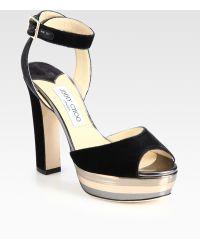 Jimmy Choo Levir Velvet and Metallic Leather Platform Sandals - Lyst