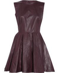 Alexander McQueen Pleated Leather Dress purple - Lyst