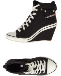 DIESEL - Exposition Wedge Magnete Leather Wedge Shoes Black - Lyst