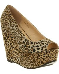 Office Witch Craft Wedge Lepoard Microsuede - Lyst