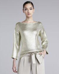 St. John Metallic Knit Sweater - Lyst
