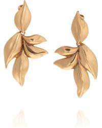 Oscar de la Renta 24-karat Gold Plated Leaf Clip Earrings - Lyst