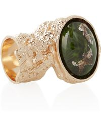 Saint Laurent Arty Rose Goldplated Glass Ring - Lyst