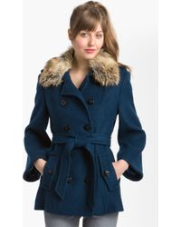 Laundry by Shelli Segal Double Breasted Textured Coat - Lyst