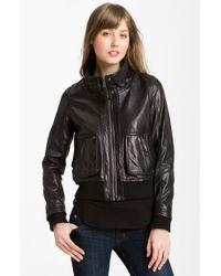 MICHAEL Michael Kors Knit Trim Leather Bomber Jacket - Lyst