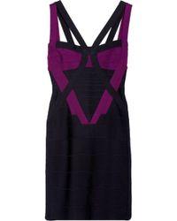 Hervé Léger Colorblock Cutout Bandage Dress - Lyst