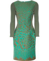 Philosophy di Alberta Ferretti Jaquard And Ribbed Wool Dress - Lyst
