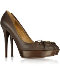 Ralph Lauren Collection - Courtney Burnished Calf Leather Platform Pump - Lyst