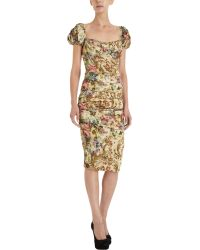 Dolce & Gabbana Tapestry Print Ruched Dress - Lyst