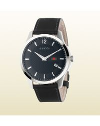 Gucci G-timeless Stainless Steel And Leather Watch - Lyst