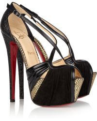 Christian Louboutin Divinoche 160 Suede And Textured-Leather Sandals - Lyst
