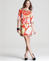 Julie Dillon | Three Quarter Sleeve Printed Shift Dress  | Lyst