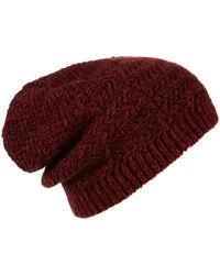 Topshop Two Tone Zigzag Beanie brown - Lyst