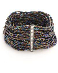 Hue - Multicolored Bugle Bead Stretch Bracelet - Lyst