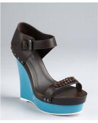 Bottega Veneta Espresso Leather And Rubber Platform Wedge Sandals black - Lyst