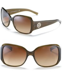 Tory Burch Large Square Sunglasses With Logo Temple Detail - Lyst
