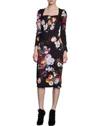 Dolce & Gabbana Floral Long Sleeve Dress - Lyst