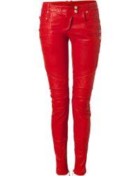 Balmain Lipstick Lowrise Skinny Leather Pants - Lyst