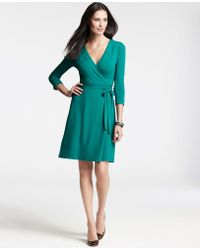 Ann Taylor Petite 3/4 Sleeve Jersey Wrap Dress - Lyst