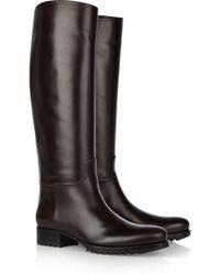 Bottega Veneta Leather Knee Boots brown - Lyst