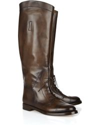 Gucci Laceup Leather Riding Boots - Lyst