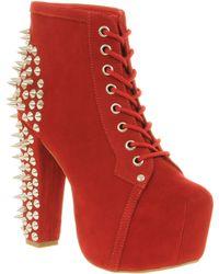 Jeffrey Campbell Lita Platform Ankle Boot Red Nubuck - Lyst