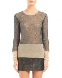 Alexander Wang Net Overlay Long Sleeve Crewneck Sweater - Lyst
