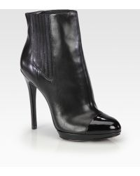 B Brian Atwood Fragola Leather and Patent Leather Ankle Boots - Lyst