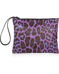 Christopher Kane Leopardprint Leather Clutch - Lyst