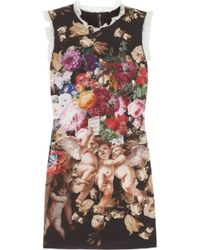 Dolce & Gabbana Printed Stretchsilk Mini Dress - Lyst