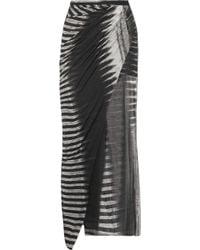 Helmut Lang Asymmetric Printed Jersey Maxi Skirt black - Lyst