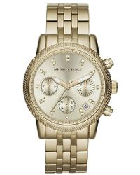 Michael Kors Ladies Ritz Gold-Tone Stainless Steel Chronograph Watch With Crystals gold - Lyst