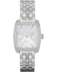 Michael Kors Midsize Silver Color Stainless Steel Emma Multifunction Glitz Watch - Lyst
