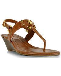 Tory Burch Robinson Honey Leather Thong Wedge Sandal - Lyst