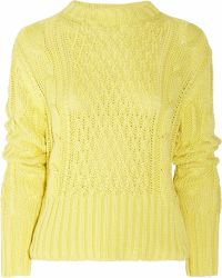 Acne Studios Lia Cableknit Cotton Sweater - Lyst