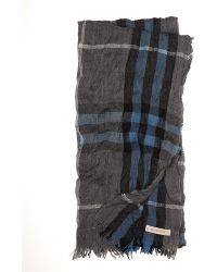 Burberry - Giant Check Cashmere Fine Merino Crinkled Scarf - Lyst