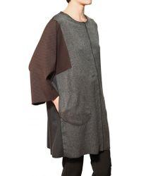 F&mme Blended Herringbone Jersey Wool Coat - Lyst