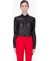 Hakaan Black Leather Cyna Blouse - Lyst