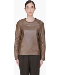 Hakaan Olive Leather Bor Top - Lyst