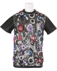 Christopher Kane Short Sleeve Top in Black Nappa Leather - Lyst