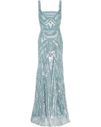 Elie Saab Strappy Full Beaded Gown blue - Lyst
