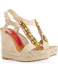 Paloma Barceló Agamar Embellished Suede Wedge Sandals - Lyst