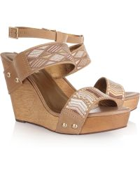 Twelfth Street Cynthia Vincent - Jonah Embroidered Leather Wedge Sandals - Lyst
