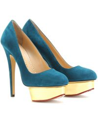 Charlotte Olympia Dolly Platform Pumps with Ruffled Anklets blue - Lyst