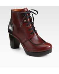Chie Mihara Bicolor Leather Laceup Ankle Boots - Lyst