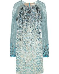 Matthew Williamson Sequined Jacquard Dress blue - Lyst